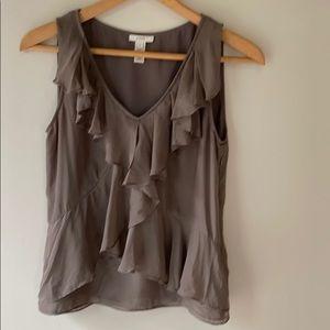 J. Cries brown sleeveless ruffle neck blouse